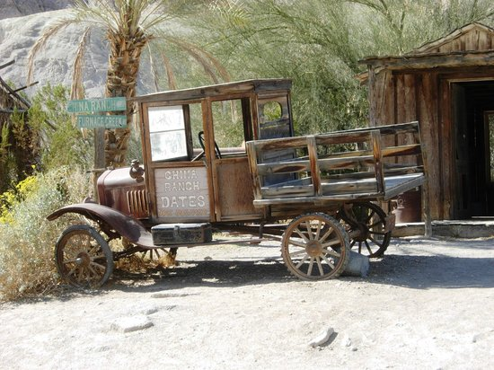 A vehicle from the past used at the China Ranch Date Farm