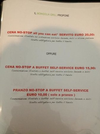 mongolia grill propone oltre alla cena no stop buffet a 15,90, anche cena no-s