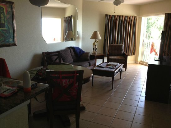 Sunset Vistas Beachfront Suites:                   Viwe of living room.