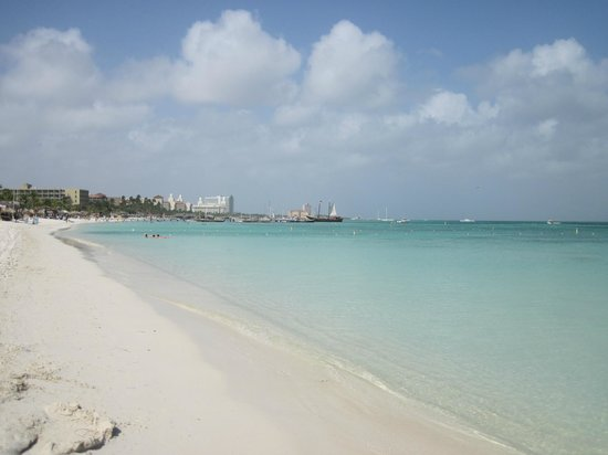 Aruba Marriott Resort & Stellaris Casino:                   Beach in front of hotel. Palm Beach