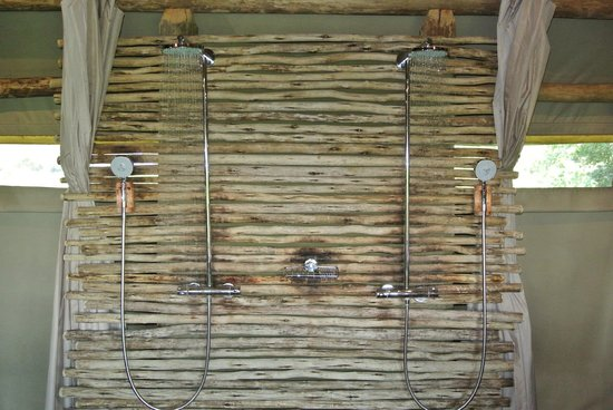 Wilderness Safaris Mombo Camp:                   Shower heads in room #3
