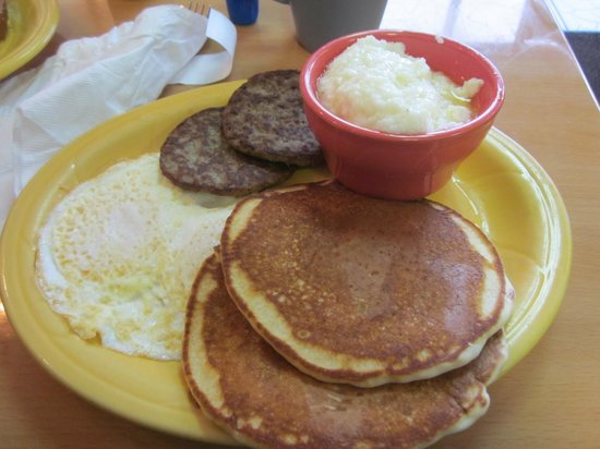Maggie Mae's Sunrise Cafe :                                     My breakfast of pancakes, turkey sausage, eggs and the BEST