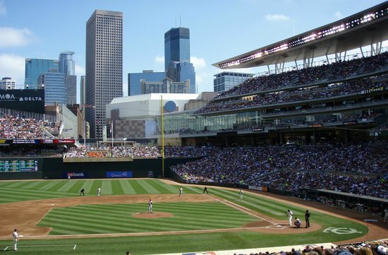 View from third base side of Target Field and downtown skyline, Minneapolis Minnesota