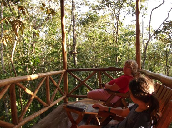 Tree Houses Hotel Costa Rica:                   enjoying the view on the deck
