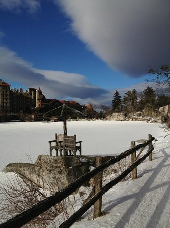 Mohonk Mountain House:                   View of frozen lake with hotel in distance