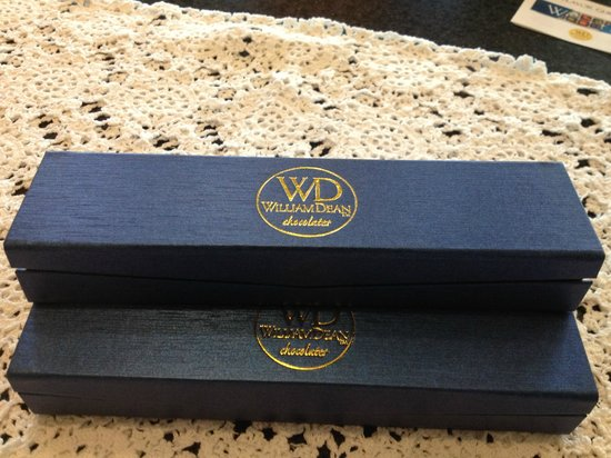 William Dean Chocolates:                   Classy boxes make lovely gifts