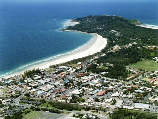 Byron Bathers: Aerial view of Byron Bay - our laneway is between 2nd & 3rd Streets back from the beach