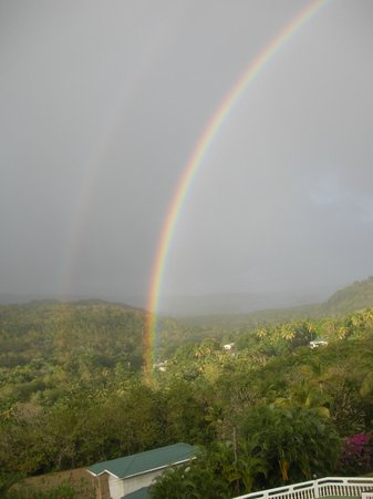 Fox Grove Inn:                   beautiful rainbow over the mountains as seen from my room