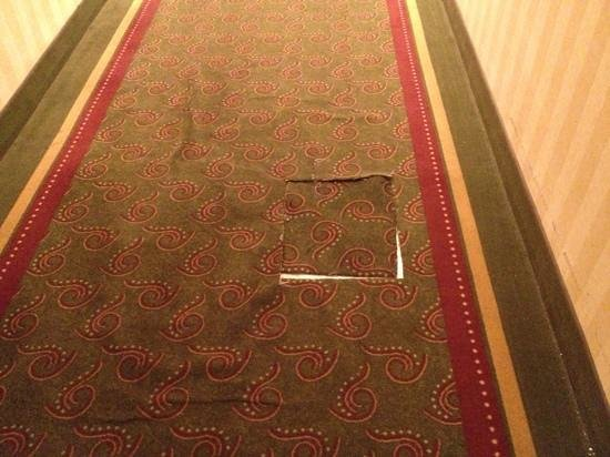 Airport Inn:                   torn carpet on main hall