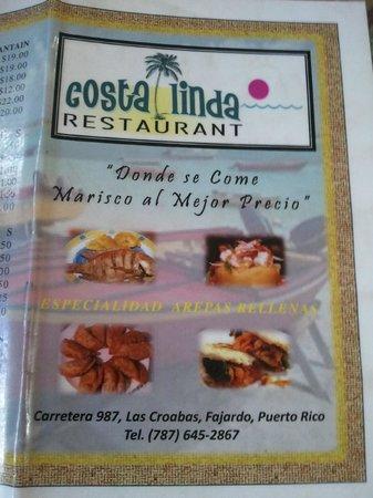 Costa Linda:                                                       Menú