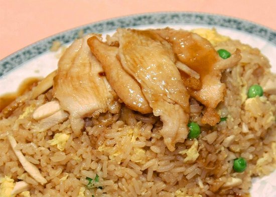 Kong's City: Our delicious chicken fried rice. It has extra chicken and gravy topping.