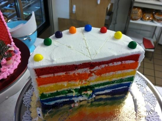 The Solvang Bakery:                   Rainbow Cake