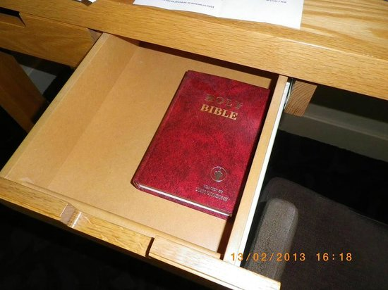 SKYCITY Grand Hotel: A dust covered bible ... this IS a Casino Hotel alright