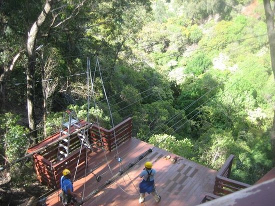 Piiholo Ranch Zipline:                                     Shestin & Ian controlling the brakes at the end of the zip