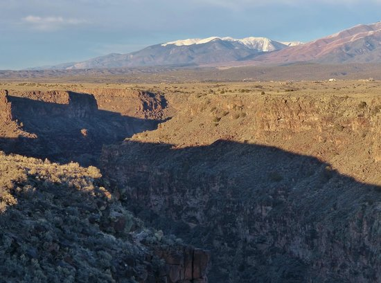 Rio Grande Gorge: Snow-capped Taos Mountains in the background
