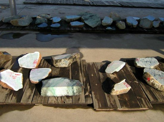 Ruili, China:                                     Raw jadeite stones