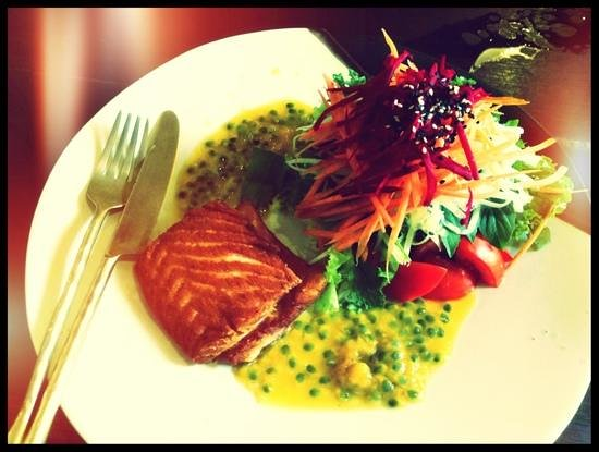 June's About Art Cafe, Bophut, Koh Samui :                                     lunch two. salmon salad with pomegranate. delicious