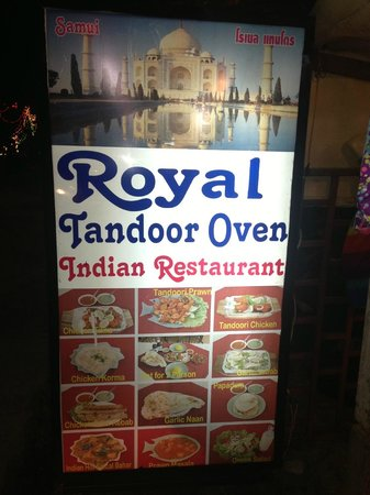Royal Tandoor:                   Sign out front