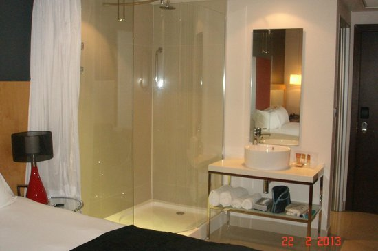 Protea Hotel Fire & Ice! by Marriott Cape Town: See the white curtain on the left? That's what separated the shower/sink from the bedroom.