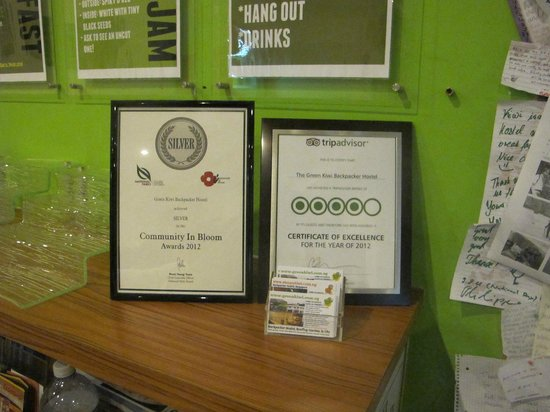 The Green Kiwi Backpacker Hostel:                   Recognition