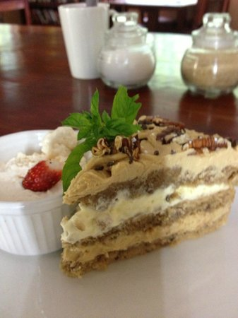 The Coffee Buzz: Pecan Nut Coffee Cake with whipped Cream and Vanilla ice cream