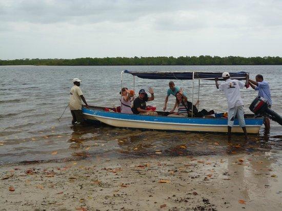 Funzi Island, Kenya:                                     One of the boats we used