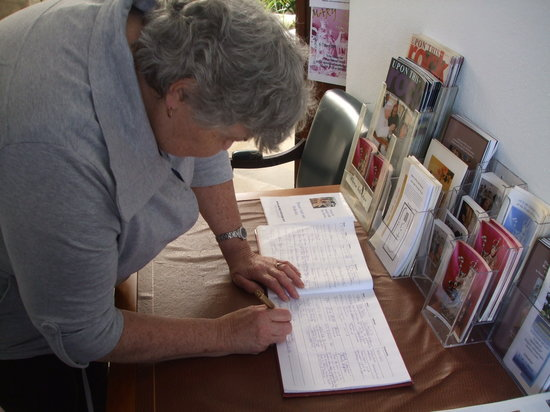 Shrine of Our Lady of Europa :                                     Mum signing the visitors book
