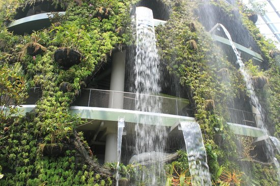 gardens by the bay indoor waterfall at cloud forest