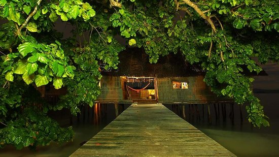 Kri Eco Resort:                   Our room at night