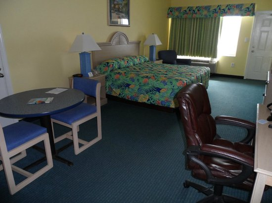 Palmetto Inn & Suites:                   Large rooms with table & chairs and desk top with chair