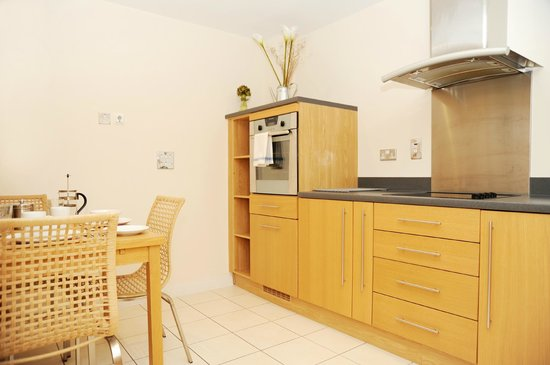 A Space in the City - Century Wharf: one bedroom apartment kitchen