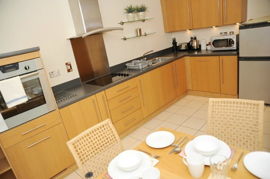A Space in the City - Century Wharf: two bedroom apartment kitchen