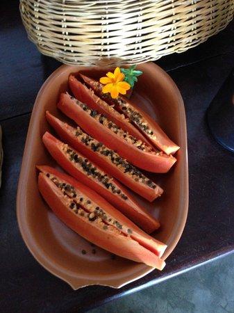 Pousada Xama: Breakfast features fresh papaya, mango, watermelon, melon