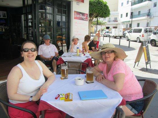 Cafe Bar Don Pepe:                   Having lunch outside