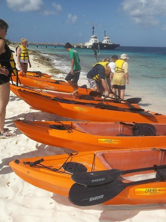Glass Bottom Boat and Kayak Snorkel Tours: Kayaks on Donkey Beach