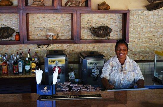Sandals Royal Caribbean Resort and Private Island:                   Verna tending Bar