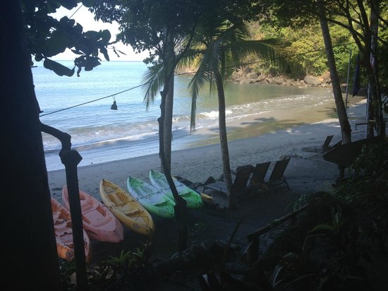 Tulemar Bungalows & Villas:                   View of private beach from Beach Cafe