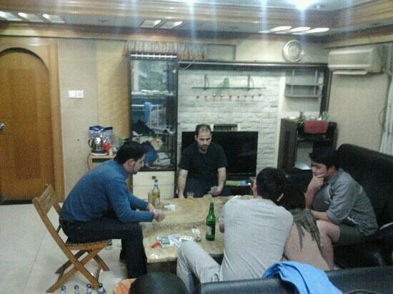 Langri House:                                                       guests gathering at night. friendly enviro