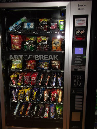 Premier Inn Warwick Hotel:                                                       snacks vending machine on ground floor.