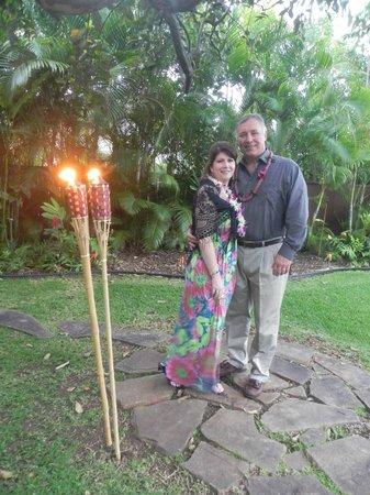 Hale 'Nalo Beach Rentals:                   We renewed our vows in the rear garden.                 