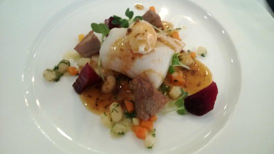 Colonialen Restaurant :                   Atlantic cod with ox tongue and poached quail egg