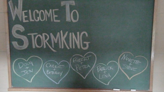 Stormking Spa at Mt. Rainier: Welcome Message at the chalkboard