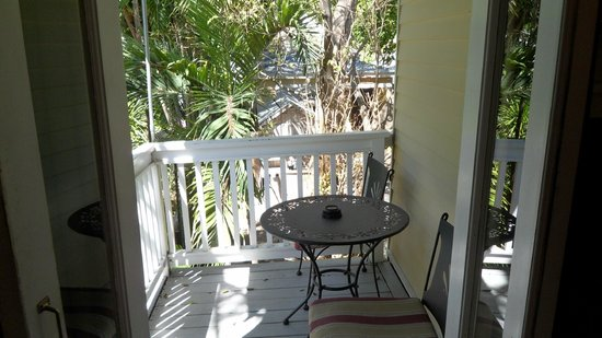 Andrews Inn and Garden Cottages:                   Balcony off of bedroom (Pamplona)