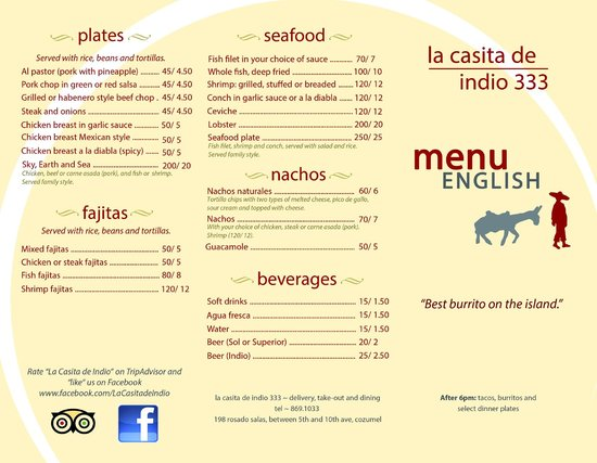 Cafe Casita Menu