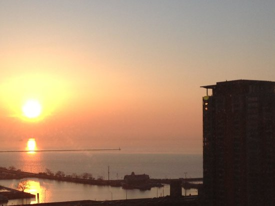 Embassy Suites by Hilton Chicago Downtown Magnificent Mile:                   Room with a view of Lake Michigan at sunrise