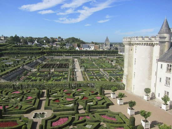 Chateau de Villandry:                   View of Villandry gardens from top floor of chateau.