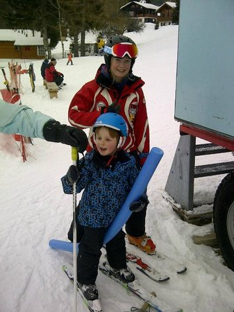 Hotel Alpenhof :                   little Henry and his ski instructor - so close to hotel
