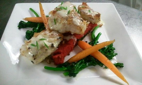 Victorian Dining Room & Garden Room:                   fresh local Ling cod stuffed with dungeness crab