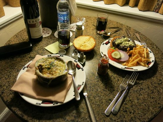 The Ahwahnee:                   Room Service - Onion Soup and Burger