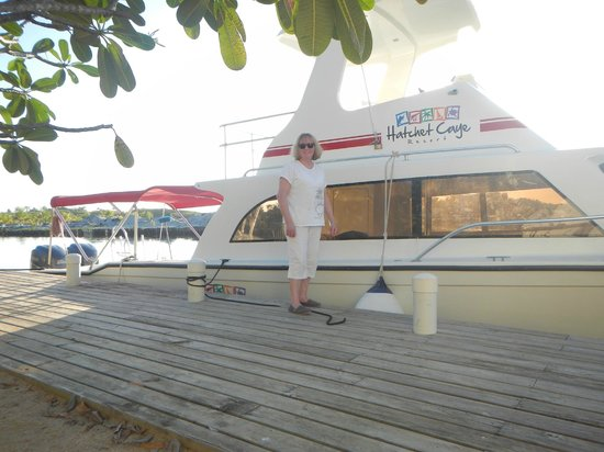 Hatchet Caye Resort:                   The boat that takes you to Hatchet Caye